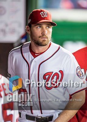 13 October 2016: Washington Nationals infielder Daniel Murphy looks out from the dugout prior to Game 5 of the NLDS against the Los Angeles Dodgers at Nationals Park in Washington, DC. The Dodgers edged out the Nationals 4-3, to take Game 5 of the Series, 3 games to 2, and move on to the National League Championship Series against the Chicago Cubs. Mandatory Credit: Ed Wolfstein Photo *** RAW (NEF) Image File Available ***