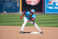 Spokane Indians second baseman Cristian Inoa (4) waits to receive a throw during a Northwest League game against the Vancouver Canadians at Avista Stadium on September 2, 2018 in Spokane, Washington. The Spokane Indians defeated the Vancouver Canadians by a score of 3-1. (Zachary Lucy/Four Seam Images)