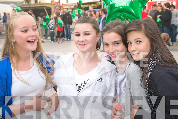 Sarah McCarthy, Chyenne Cuningham, Michelle O'Leary and Kayleigh Quirke from Tralee at the street entertainment in the Square, Tralee, during the Rose of Tralee Festival on Wednesday night were