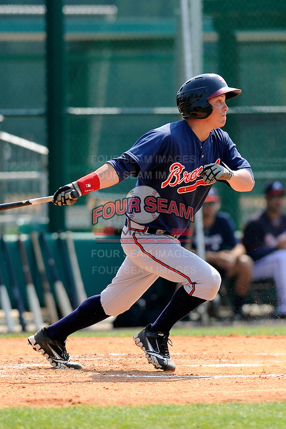 Outfielder Cody Livesay (9) of the Atlanta Braves farm system in a Minor League Spring Training intrasquad game on Wednesday, March 18, 2015, at the ESPN Wide World of Sports Complex in Lake Buena Vista, Florida. (Tom Priddy/Four Seam Images)