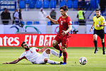 Nguyen Cong Phuong of Vietnam (R) fights for the ball with Baha' Abdelrahman of Jordan (L) during the AFC Asian Cup UAE 2019 Round of 16 match between Jordan (JOR) and Vietnam (VIE) at Al Maktoum Stadium on 20 January 2019 in Dubai, United Arab Emirates. Photo by Marcio Rodrigo Machado / Power Sport Images