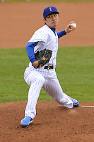 Tsuyoshi Wada #17 of the Iowa Cubs pitches against the Omaha Storm Chasers at Principal Park on May 1, 2014 in Des Moines, Iowa. The Cubs  beat Storm Chasers 1-0.   (Dennis Hubbard/Four Seam Images)