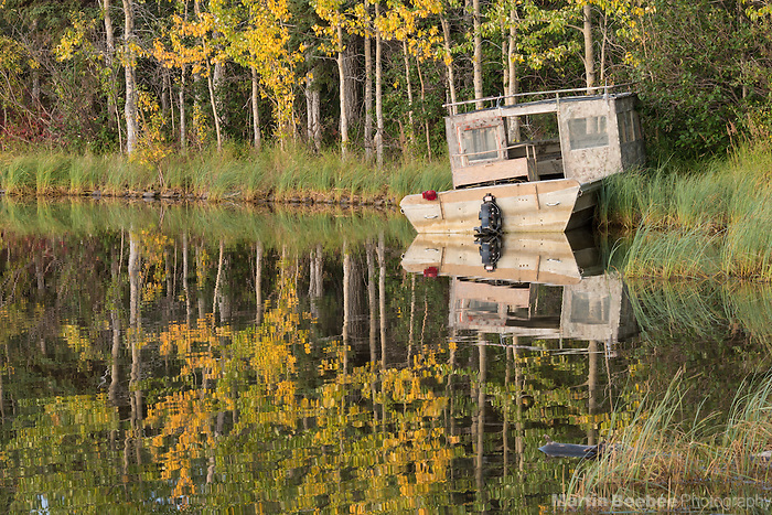 Old boat on the shore of Otto Lake, autumn, Healy, Alaska