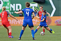 Portland, OR - Saturday May 06, 2017: Nahomi Kawasumi during a regular season National Women's Soccer League (NWSL) match between the Portland Thorns FC and the Seattle Reign FC at Providence Park.