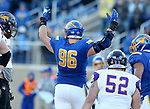 BROOKINGS, SD - DECEMBER 2: Spencer Hildahl # 96 from South Dakota State celebrates a sack against Northern Iowa during their FCS Division 1 playoff game Saturday afternoon at Dana J. Dykhouse Stadium in Brookings, SD. (Photo by Dave Eggen/Inertia)