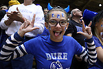 30 November 2014: A Duke fan, one of the Cameron Crazies. The Duke University Blue Devils hosted the West Point Military Academy Army Black Knights at Cameron Indoor Stadium in Durham, North Carolina in a 2014-16 NCAA Men's Basketball Division I game. Duke won the game 93-73.