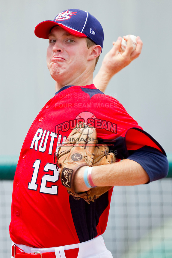 James Marvel #12 of Babe Ruth in the bullpen during the game against PONY at the 2011 Tournament of Stars at the USA Baseball National Training Center on June 25, 2011 in Cary, North Carolina.  Babe Ruth defeated PONY by the score of 10-9. (Brian Westerholt/Four Seam Images)