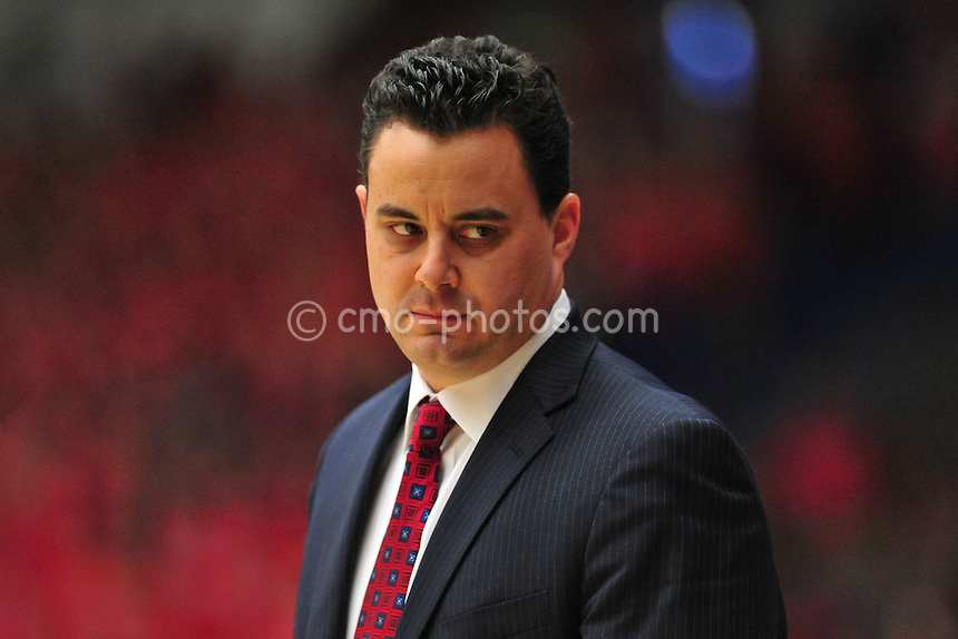 Jan 15, 2011; Tucson, AZ, USA; Arizona Wildcats head coach Sean Miller looks down at his bench in the 1st half of a game against the Arizona State Sun Devils at the McKale Center.  The Wildcats won the game 80-69.