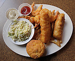The Gulf Shores Restaurant & Grill in Edwardsville is the second location of the popular Cajun-themed eatery which has another site in St. Louis. This location is within the Edwardsville Crossing shopping complex. Shown is the Seaside Combo plate, featuring two hand-battered Cod fish fillets, and six jumbo shrimp.