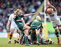 Sam Harrison of Leicester Tigers box-kicks the ball. Aviva Premiership match, between Leicester Tigers and Wasps on March 25, 2018 at Welford Road in Leicester, England. Photo by: Patrick Khachfe / JMP