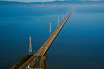 Aerial view of San Mateo Bridge, California
