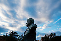 Stephen D. Lee bust with sunset sky.<br />  (photo by Megan Bean / &copy; Mississippi State University)