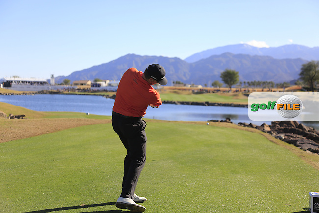 Ricky Barnes (USA) tees off the 18th tee during Saturday's Round 3 of the 2017 CareerBuilder Challenge held at PGA West, La Quinta, Palm Springs, California, USA.<br /> 21st January 2017.<br /> Picture: Eoin Clarke | Golffile<br /> <br /> <br /> All photos usage must carry mandatory copyright credit (&copy; Golffile | Eoin Clarke)