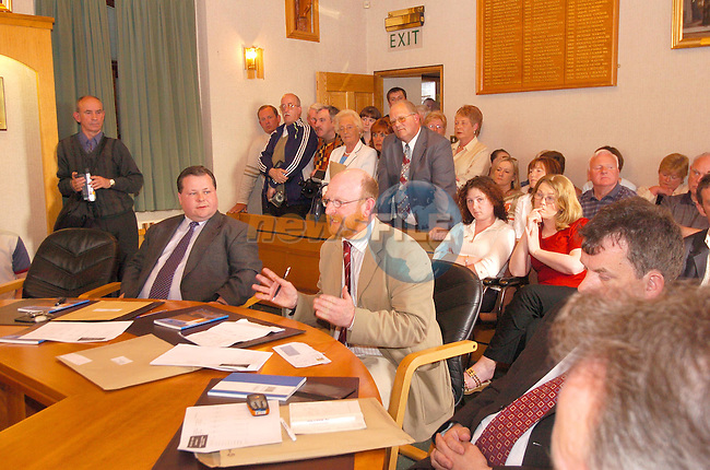 Cllr Anthony Donoghe speaking after the Mayoral election in the Couincil Chamber with New Cllr. paul Bell on the Left and Micheal O'Dowd on the Right...Photo Fran Caffrey Newsfile.ie..This Picture has been sent to you by Newsfile Ltd..The Studio,.Millmount Abbey,.Drogheda,.Co. Meath,.Ireland..Tel: +353(0)41-9871240.Fax: +353(0)41-9871260.ISDN: +353(0)41-9871010.www.newsfile.ie..general email: pictures@newsfile.ie
