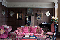 Large comfy sofas have replaced prewar ones in the music room since the current owners began the restoration of the manor house