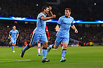 Sergio Aguero of Manchester City celebrates his opening goal - Manchester City vs. Bayern Munich - UEFA Champion's League - Etihad Stadium - Manchester - 25/11/2014 Pic Philip Oldham/Sportimage