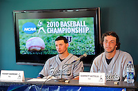 5 June 2010:  FIU's Yoandy Barroso (38, left) and Garrett Wittels (10, right), speak with media at the post-game press conference.  The Dartmouth Green Wave defeated the FIU Golden Panthers, 15-9, in Game 3 of the 2010 NCAA Coral Gables Regional at Alex Rodriguez Park in Coral Gables, Florida.
