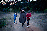 Annuska, Felix, Lucas and I go for a walk. Christmas with the family at Malcolm and Martine's in Erongaricuaro, Michoacan.  Mexico