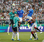 22.08.2019 Legia Warsaw v Rangers: Nikola Katic goes close with a header