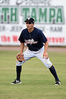 Tampa Yankees outfielder Danny Oh (14) during a game against the Daytona Cubs on April 13, 2014 at George M. Steinbrenner Field in Tampa, Florida.  Tampa defeated Daytona 7-3.  (Mike Janes/Four Seam Images)