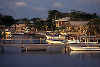 Boats docked in the town of West End on the Island of Roatan, Bay Islands, Honduras