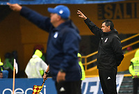 BOGOTA - COLOMBIA - 04 – 03 - 2018: Jorge Da Silva (Der.), técnico, de America de Cali y Hugo Gottardi (Izq.) tenico de Millonarios, da instrucciones a los jugadores, durante partido de la fecha 6 entre Millonarios y America de Cali, por la Liga Aguila I 2018, jugado en el estadio Nemesio Camacho El Campin de la ciudad de Bogota. / Jorge Da Silva (R), coach of America de Cali, and Hugo Gottardi (Izq.) tenico de Millonarios, give instructions to the players, during a match of the 6th date between Millonarios and America de Cali, for the Liga Aguila I 2018 played at the Nemesio Camacho El Campin Stadium in Bogota city, Photo: VizzorImage / Luis Ramirez / Staff.