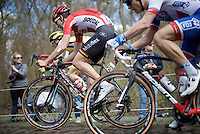 After his serious crash in the Ronde van Vlaanderen the week before, it was already a miracle that Tiesj Benoot (BEL/Lotto-Soudal) managed to start for Roubaix at all.<br /> The result was altogether not as hoped though.<br /> Here he ponders the Trou&eacute;e d'Arenberg cobbles.<br /> <br /> 114th Paris-Roubaix 2016