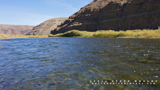 Blue sky reflects in the John Day River.