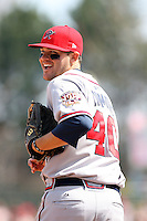 April 17th, 2008:  Infielder Wes Timmons (40) of the Richmond Braves, Class-AAA affiliate of the Atlanta Braves, jogs to the field during a game at Frontier Field in Rochester, NY.  Photo by:  Mike Janes/Four Seam Images