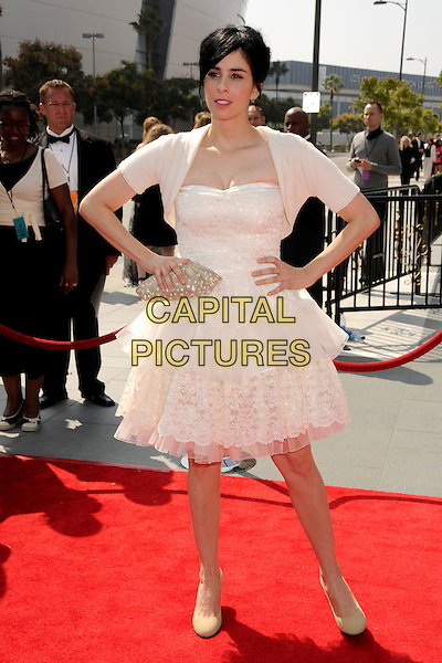 SARAH SILVERMAN .60th Annual Primetime Creative Arts Emmy Awards - Arrivals at the Nokia Theatre, Los Angeles, California, USA, 13 September 2008..full length white layered tiered prom dress cardigan hands on hips .CAP/ADM/BP.©Byron Purvis/Admedia/Capital PIctures