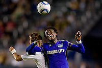 LA Galaxy forward Mike Magee and Kansas City Wizard midfielder Kei Kamara battle. The Kansas City Wizards beat the LA Galaxy 2-0 at Home Depot Center stadium in Carson, California on Saturday August 28, 2010.