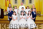 M/s Michelle Sheehy's from Asdee NS who received their 1st communion  from Fr. Kennely in AsdeeChurch on Saturday last. Also in picture is M/s Tara O'Carroll.