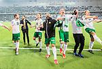 ***BETALBILD***  <br /> Stockholm 2015-09-27 Fotboll Allsvenskan Hammarby IF - AIK :  <br /> Hammarbys Kennedy Bakircioglu , Mats Solheim , Johan Persson , Pablo Pinones-Arce Pinones Arce , Birkir Mar Saevarsson S&auml;varsson och Lars Saetra S&auml;tra firar 1-0 segern framf&ouml;r Hammarbys supportrar efter matchen mellan Hammarby IF och AIK <br /> (Foto: Kenta J&ouml;nsson) Nyckelord:  Fotboll Allsvenskan Tele2 Arena Hammarby HIF Bajen AIK Derby jubel gl&auml;dje lycka glad happy