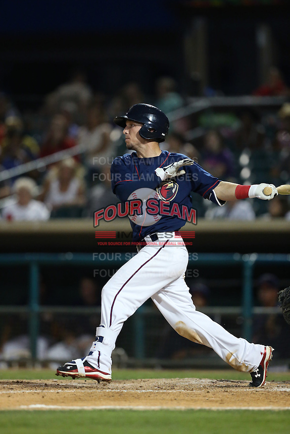 Alex Bregman (6) of the Lancaster JetHawks, the second player overall to be chosen in the 2015 MLB draft, bats during a game against the Bakersfield Blaze at The Hanger on August 5, 2015 in Lancaster, California. Bakersfield defeated Lancaster, 12-5. (Larry Goren/Four Seam Images)