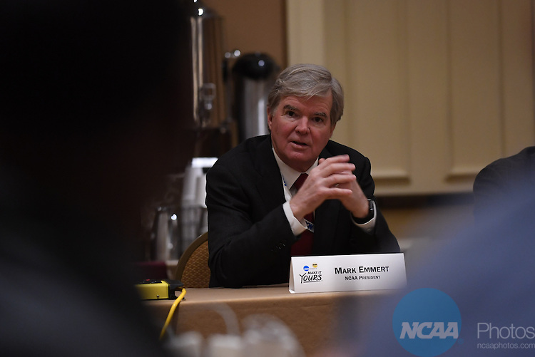 17 JAN 2017:  The NCAA Division II SAAC meeting takes place during the 2017 NCAA Convention takes place at the Gaylord Opryland Resort & Convention Center in Nashville, TN. Justin Tafoya/NCAA Photos (Pictured: Mark Emmert)