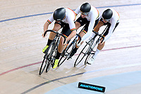 Patrick Clancy, Lachlan Robertson and Kiaan Watts of Waikato BOP compete in the U17 Boys 750m Team Sprint final at the Age Group Track National Championships, Avantidrome, Home of Cycling, Cambridge, New Zealand, Sunday, March 19, 2017. Mandatory Credit: © Dianne Manson/CyclingNZ  **NO ARCHIVING**