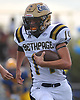 T.J. Kress of Bethpage returns a kick during the second quarter of a Nassau County Conference III varsity football game against host Lawrence High School on Saturday, Oct. 7, 2017.