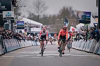 Greg VAN AVERMAET (BEL/CCC) finishes 2nd, with Tim Wellens (BEL/Lotto-Soudal) a close 3rd<br /> <br /> 74th Omloop Het Nieuwsblad 2019 <br /> Gent to Ninove (BEL): 200km<br /> <br /> ©kramon