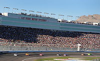 Mar 2, 2008; Las Vegas, NV, USA; NASCAR Sprint Cup Series driver Dale Earnhardt Jr (88) leads the field during the UAW Dodge 400 at Las Vegas Motor Speedway. Mandatory Credit: Mark J. Rebilas-US PRESSWIRE