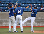 Wildcat's, from left, Joey Crunkilton, Spenser Dorsey, Connor Klein and Alex Fife celebrate after Sam Hall's two-run double against Mt. Hood Community College at John L. Harvey Field in Carson City, Nev., on Friday, March 14, 2014. <br /> Photo by Cathleen Allison/Nevada Photo Source