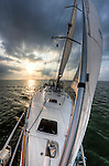 Sailboat sailing sunset beneteau 49 yacht