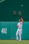 29 June 2017: Washington Nationals outfielder Michael Taylor pulls in a fly ball to left during a game against the Chicago Cubs at Nationals Park in Washington, DC. The Cubs rallied against the Nationals to win 5-4 and split their 4-game series. Mandatory Credit: Ed Wolfstein Photo *** RAW (NEF) Image File Available ***