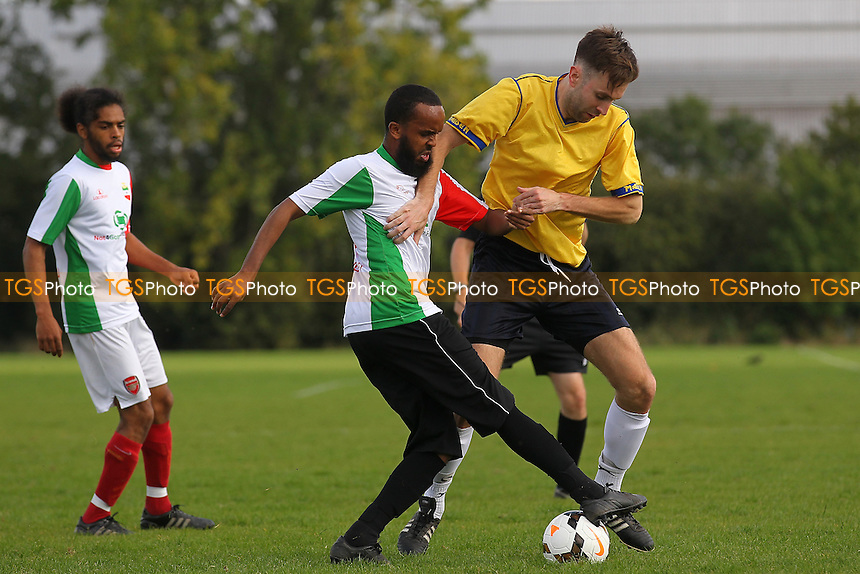 Bristow City (yellow) vs Heegan FC, Hackney & Leyton Sunday League Football at Hackney Marshes, Hackney, England on 27/09/2015