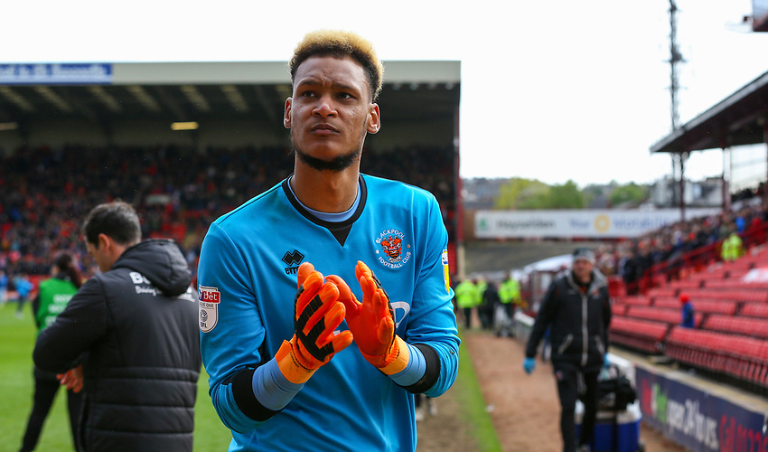 Blackpool's Christoffer Mafoumbi applauds the fans after the match<br /> <br /> Photographer Alex Dodd/CameraSport<br /> <br /> The EFL Sky Bet League One - Barnsley v Blackpool - Saturday 27th April 2019 - Oakwell - Barnsley<br /> <br /> World Copyright © 2019 CameraSport. All rights reserved. 43 Linden Ave. Countesthorpe. Leicester. England. LE8 5PG - Tel: +44 (0) 116 277 4147 - admin@camerasport.com - www.camerasport.com