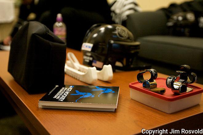Pregame scene in the referee's dressing room.