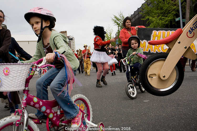 NEW YORK - MAY 10: Participants ride their bikes during the Socrates Sculpture Park's first annual bike parade on Saturday, May 10, 2008 in Long Island City, NY. (Photo by Landon Nordeman)