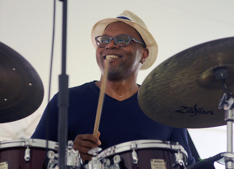 Drummer, Lewis Nash, playing with The Message (an All-Star Band inspired by the legacy of Art Blakey's Jazz Messengers) performing at the 2014 Jazz in the Valley Festival held in Waryas Park on the Hudson River front in Poughkeepsie, NY on Sunday August 17, 2014. Photo by Jim Peppler. Copyright Jim Peppler 2014 all rights reserved.