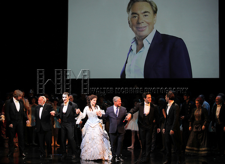 John Owen Jones, Hal Prince, Hugh Panaro, Sierra Boggess, Cameron Mackintosh, Ramin Karimloo & Peter Joback during the 'Phantom of the Opera' - 25 Years on Broadway Gala Performance Curtain Call Celebration at the Majestic Theatre in New York City on 1/26/2013