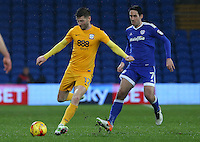 Paul Gallagher of Preston North End is closely marked by Peter Whittingham of Cardiff City during the Sky Bet Championship match between Cardiff City and Preston North End at Cardiff City Stadium, Wales, UK. Tuesday 31 January 2017