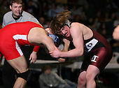 Josh Peters (IV) and Hunter Meys (II) square off in the NY State Division One finals at the 189 weight class during the NY State Wrestling Championship finals at Blue Cross Arena on March 9, 2009 in Rochester, New York.  (Copyright Mike Janes Photography)